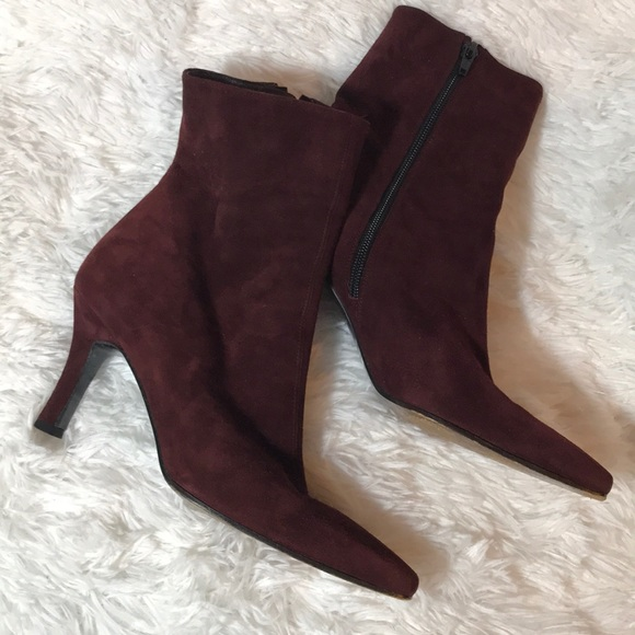 Stuart Weitzman Wine Red Suede Heeled 7.5 Booties